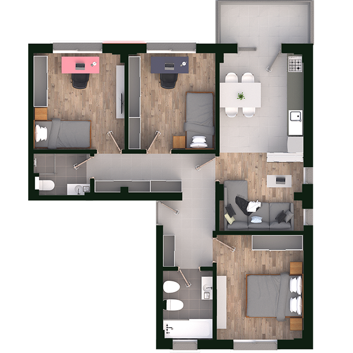 4 camere open space